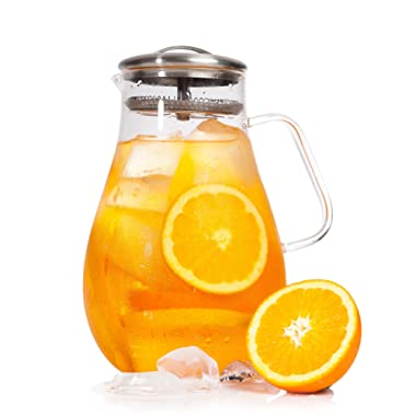 Cold/Hot Borosilicate Glass Tea Pitcher for Ice Water, Beverage, Drinks | Stainless Steel Lid | Handle & Strainer - 64 oz