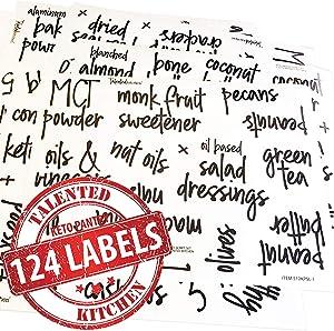 Talented Kitchen 124 Keto Pantry Labels – 124 Script Labels, Keto Diet Ingredients – Pantry Food Jar Stickers. Water Resistant, Jar Decal Pantry Organization Storage (Set of 124 – Script Keto Pantry)