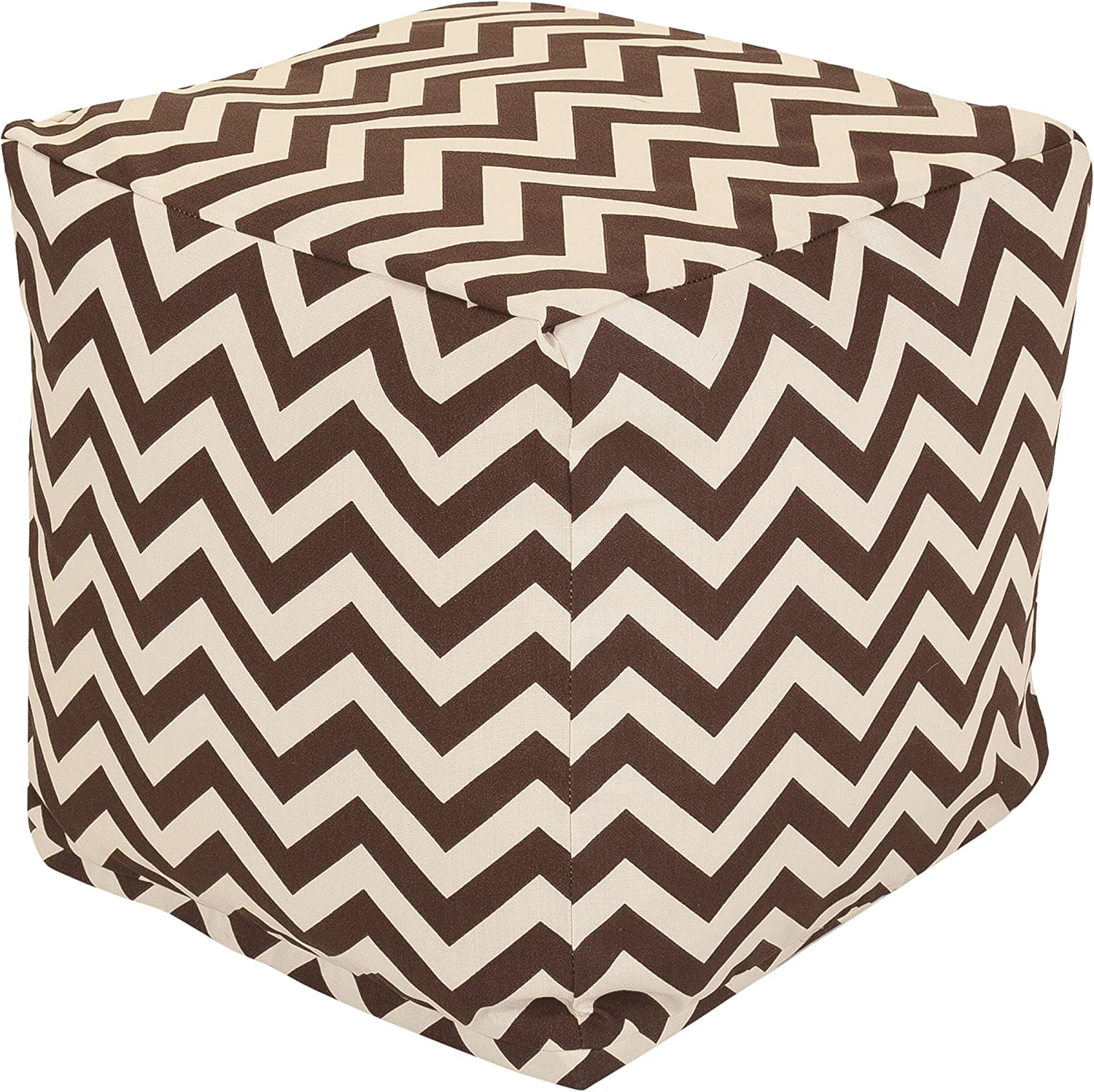 Majestic Home Goods Baby Pink Chevron Indoor Bean Bag Ottoman Pouf Cube 17 L x 17 W x 17 H