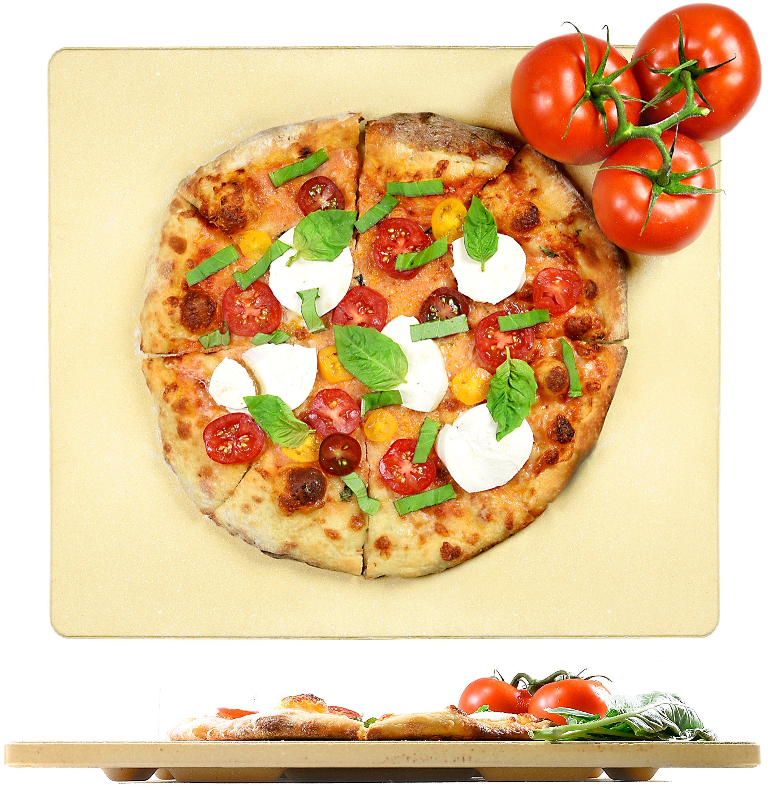 Crustina Pizza Stone Rectangular - 14'' x 16'' - Baking Stone, Best Pizza Stone for Oven and for Pizza on the Grill, Pizza Cooking Stone Fits All Standard Oven and BBQ by Crustina (Image #1)
