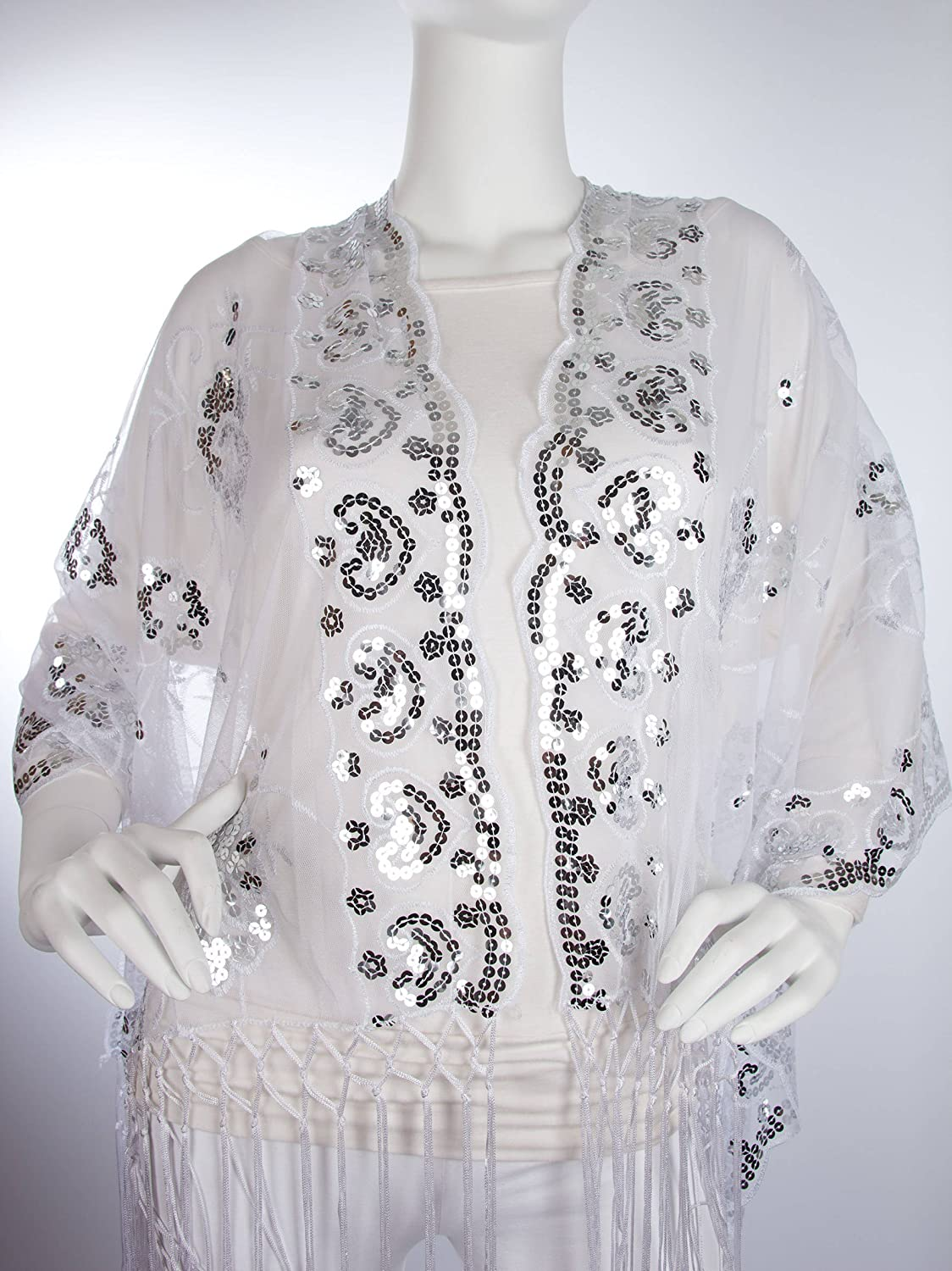1920s Shawls, Scarves and Evening Jacket Tips Madison Shawl Long Fringe Sequin Evening Wrap $16.95 AT vintagedancer.com