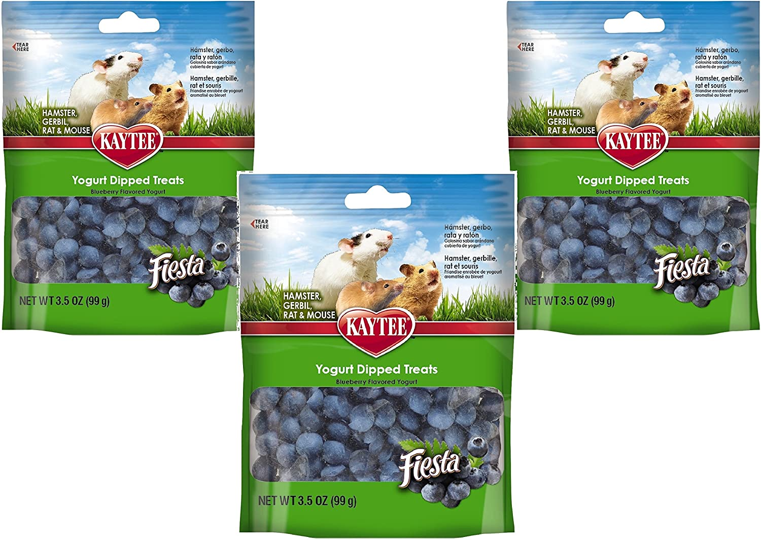(3 Pack) Kaytee Pet Products Fiesta Yogurt Dipped Small Animal Treats, Blueberry Flavor - 3.5 Ounces per Pack