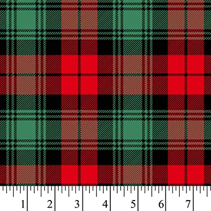 Christmas Plaid.Red Green Christmas Plaid Cotton Fabric By The Yard