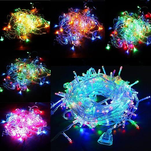 Tiras de 100 luces LED, 10 metros, multicolor, luminosas, para Navidad
