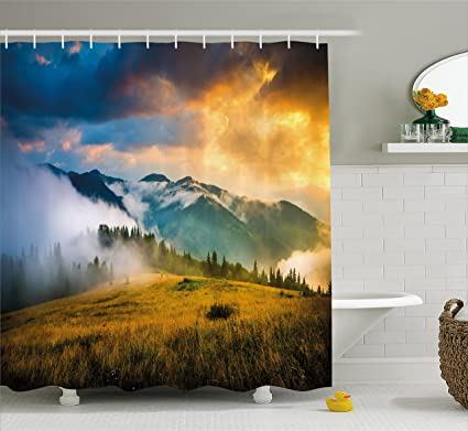 Ambesonne Landscape Shower Curtain Rural Scenery Sunrise Misty Mountains Clouds Trees Wildgrass Field Photo