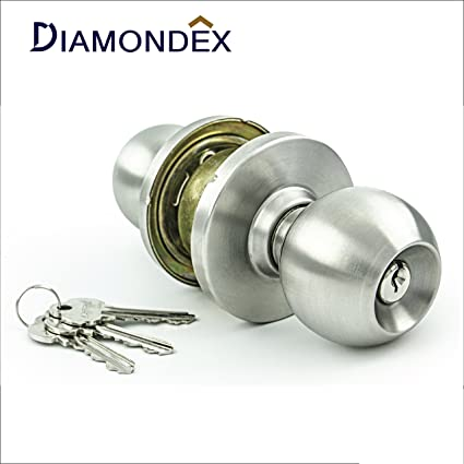 Diamondex & Jarton - Commercial & Residential Door Knob Lock Set, Modern Ball Knob Style