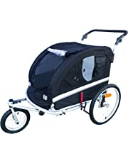 MB Large Pet Dog Stroller and Bike Bicycle Trailer with Suspension/Shocks (Black)