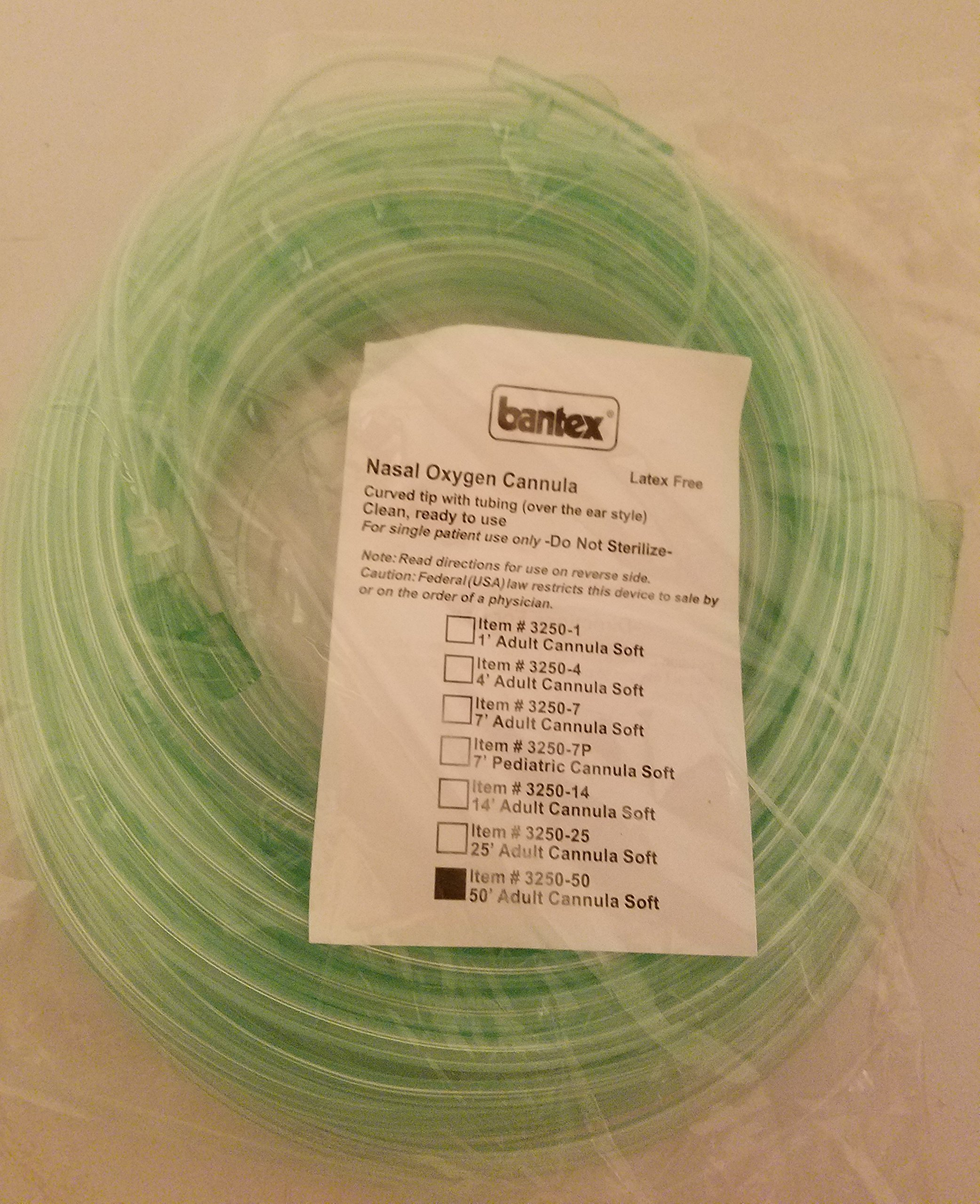 PRIME! Bantex 3250-50 50ft ADULT Soft Curved Tip Nasal Oxygen Cannula Tube Tubing (1pc)