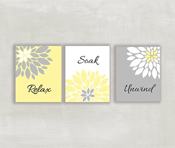 Amazon.com: Relax Soak Unwind Floral Wall Art in Yellow Gray and ...