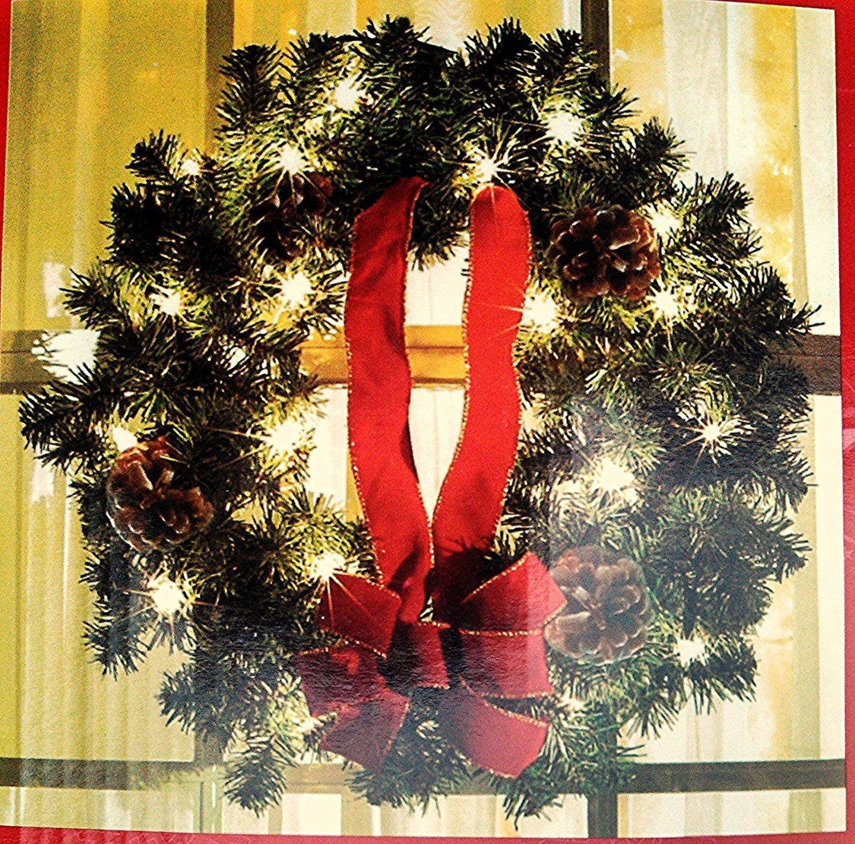 Nantucket 22 inch Lighted Christmas Wreaths 3 Wreath Set