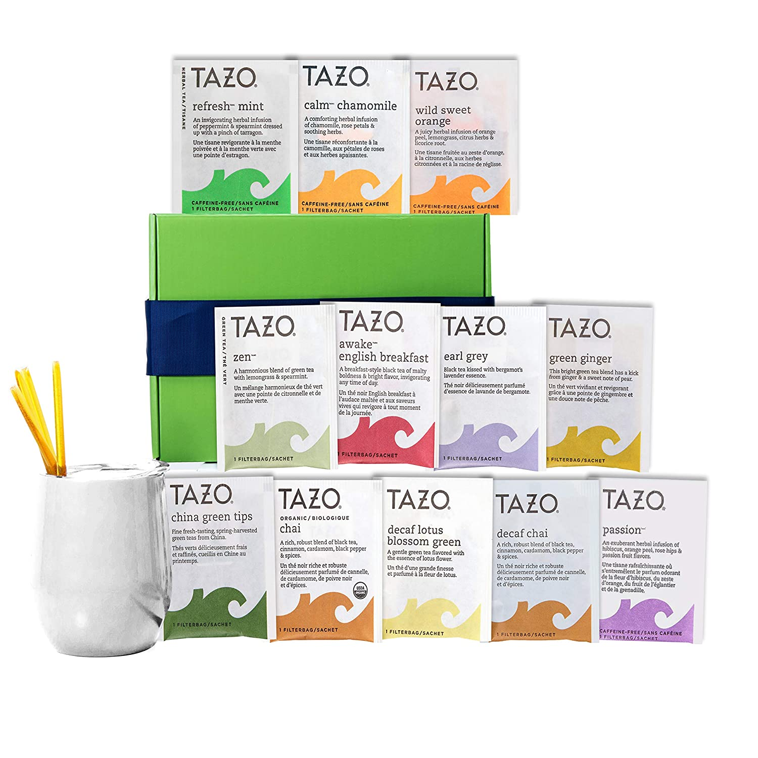 Tea Gift Set for Tea Lovers - Includes Double Insulated Tea Cup 12 Uniquely Blended Teas and All Natural Honey Straws | Tea Gift Sets for Women Men | Tea Gifts Box Presented in Beautiful Gift Box