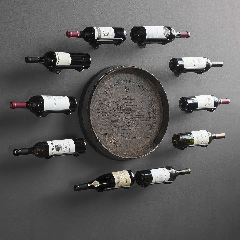 Wall Mount Custom Design Iron Wine Bottle Holder Rack by Rustic State for All Adult Beverages or Liquor Set of 5 Black 3