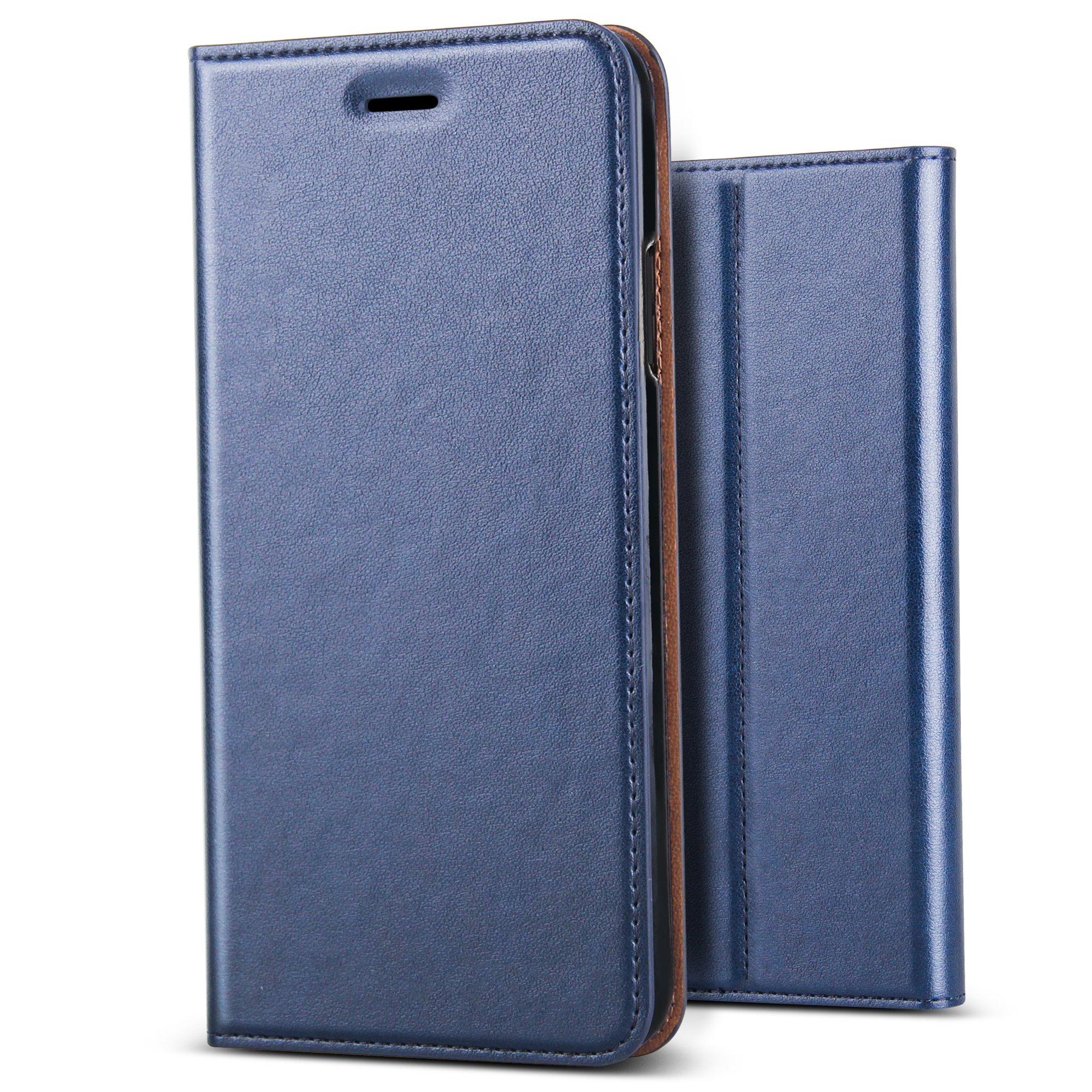 B BELK iPhone X Case, [Simple Retro Style] Handmade Soft Leather Flip Folio Slim Wallet Cover Case[Magnetic Closure][Credit Card Slot][TPU Bumper][Kickstand] For Apple iPhone X - Blue