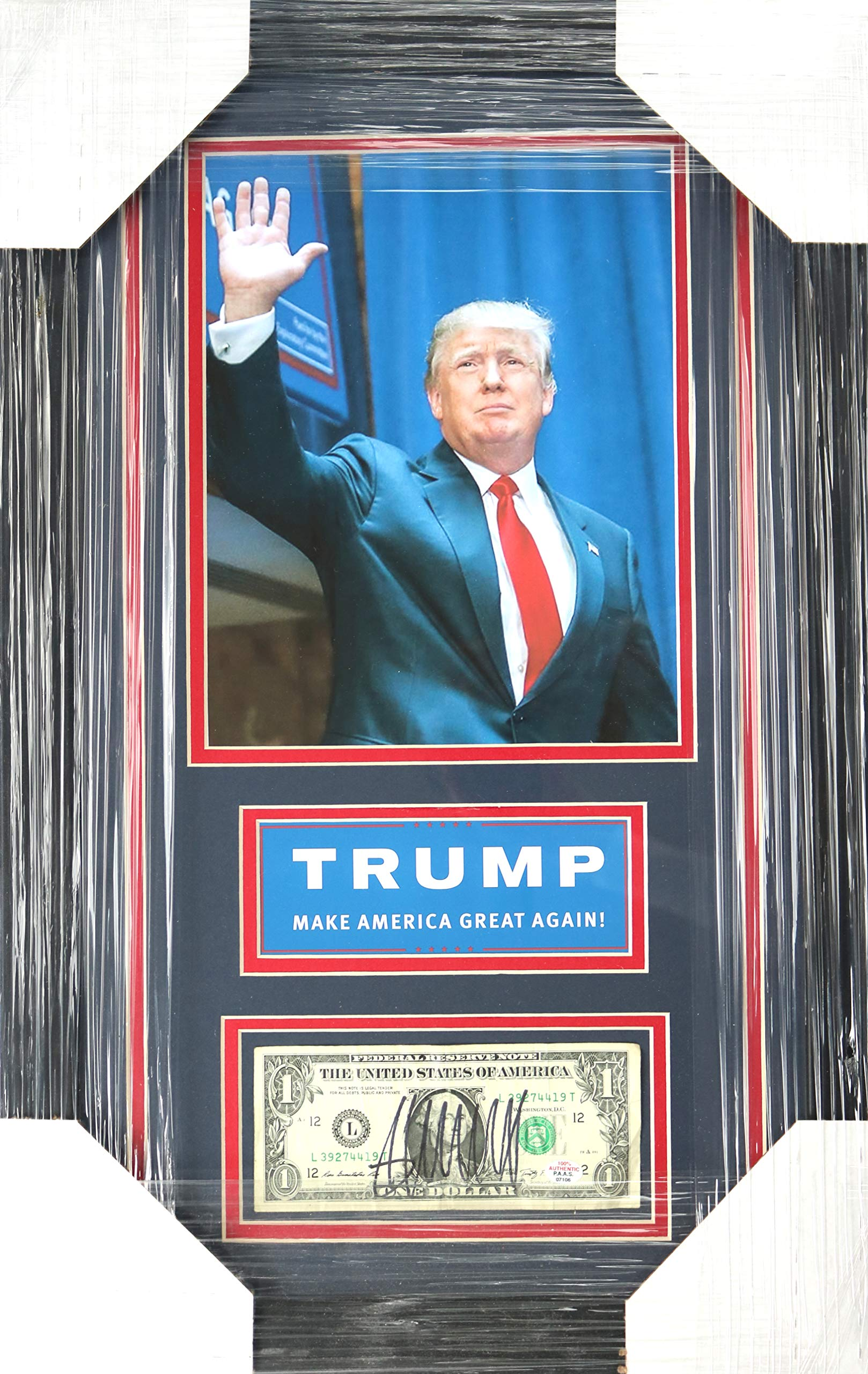 Donald Trump United States President 22″ X 14″ Framed Photo And Signed Autographed Dollar Bill PAAS COA