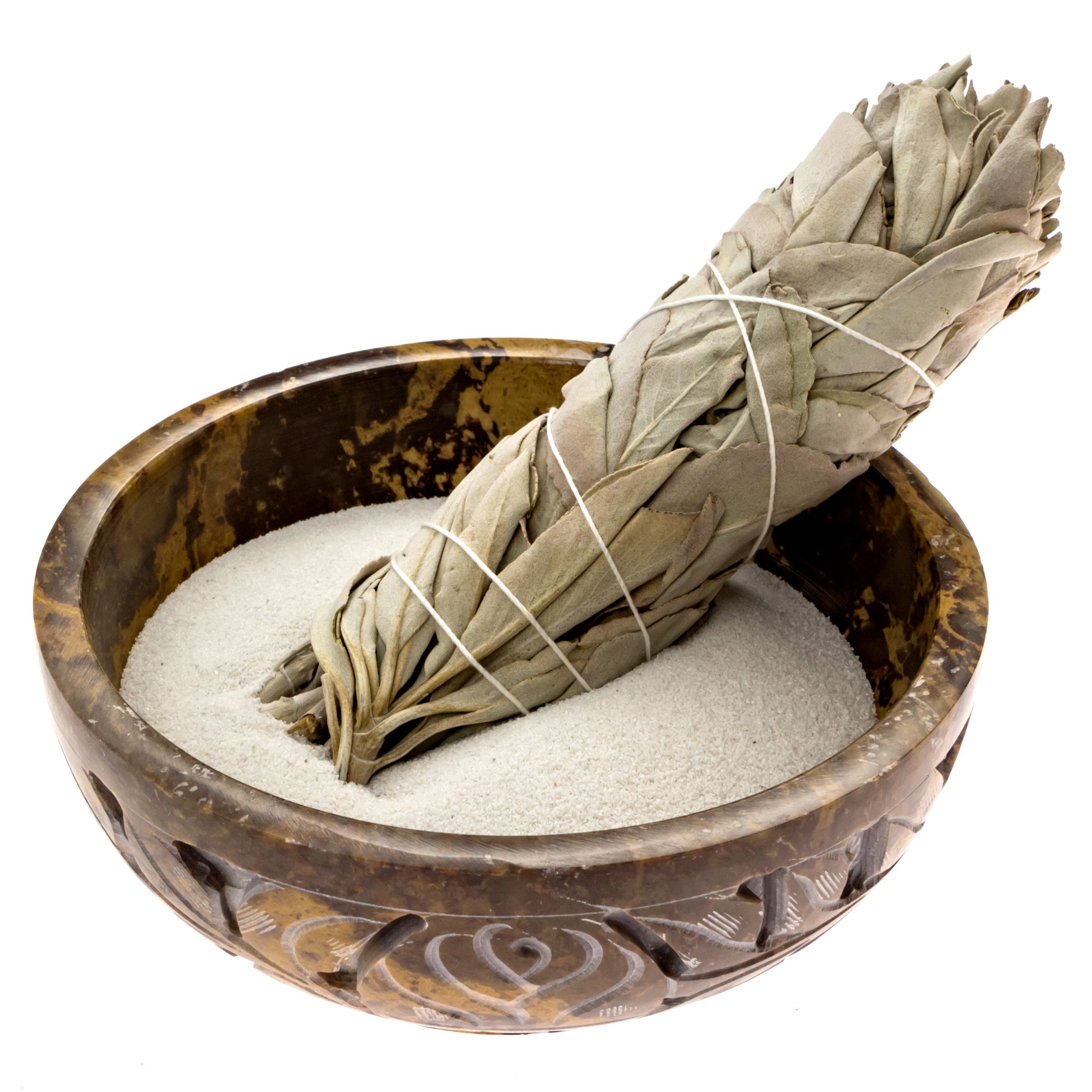 Alternative Imagination Soapstone Smudge Bowl Kit with 1 California White Sage Smudge Stick, 2 Palo Santo Smudge Sticks, and 1/2 lb of White Sand (Deluxe) by Alternative Imagination (Image #5)