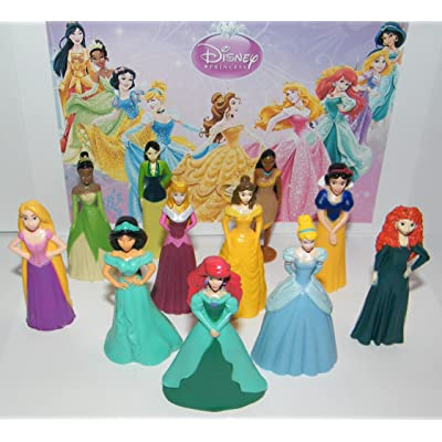 Disney Princess Deluxe Party Favors Goody Bag Fillers Set of 11 Nice Sized Figures with Rapunzel, Cinderella, Ariel Etc and Bonus Tattoos!