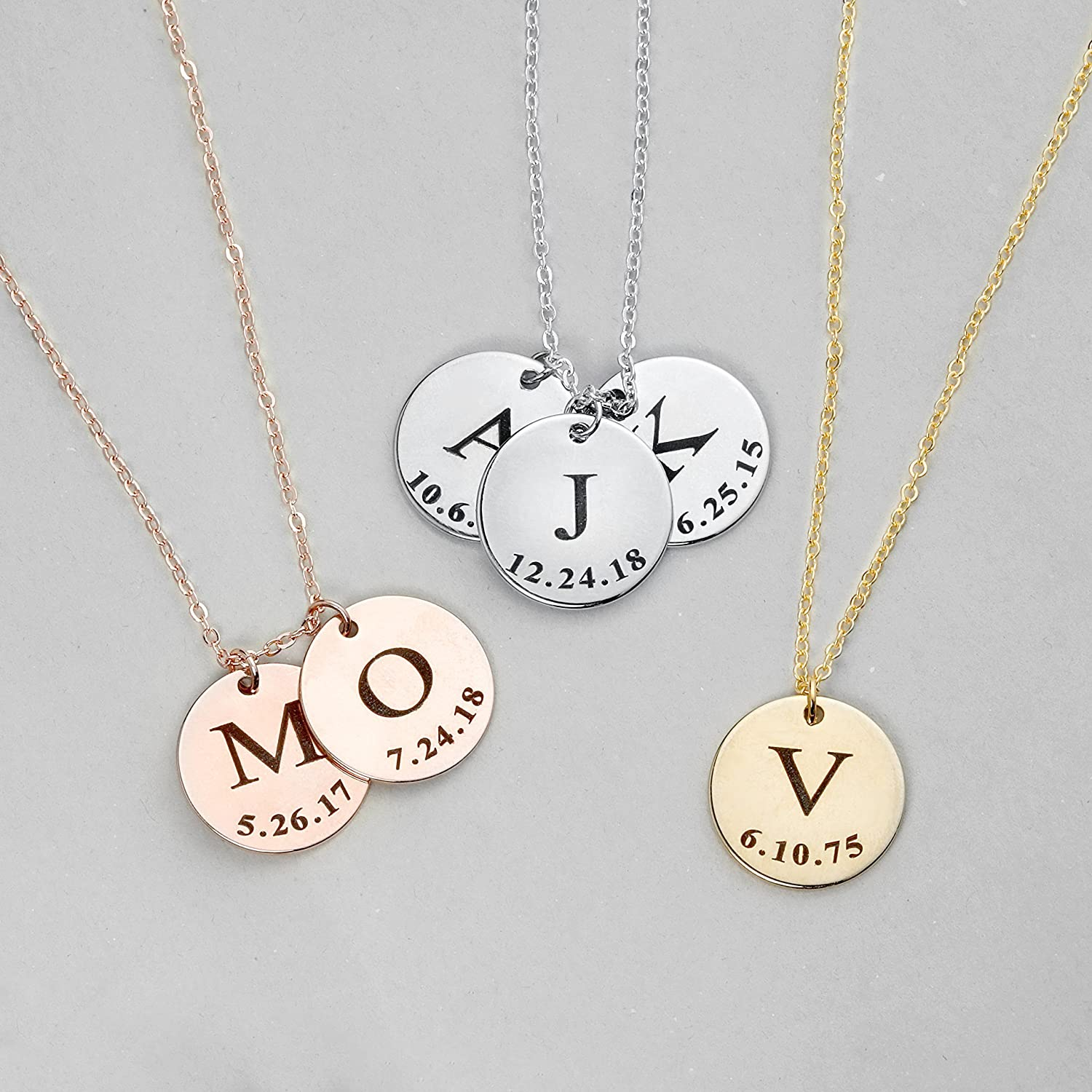 Same Day Shipping Before 12pm Graduation Gift Initial Disc Necklace Coin Children Gift Personalized Initial Jewelry   Lcn Id L by Amazon