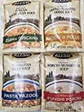 Alessi Athentic Italian Soup Mix 4 Flavor Variety Bundle: (1) Tuscan White Bean Soup, (1) Chicken Flavored Noodle Soup…