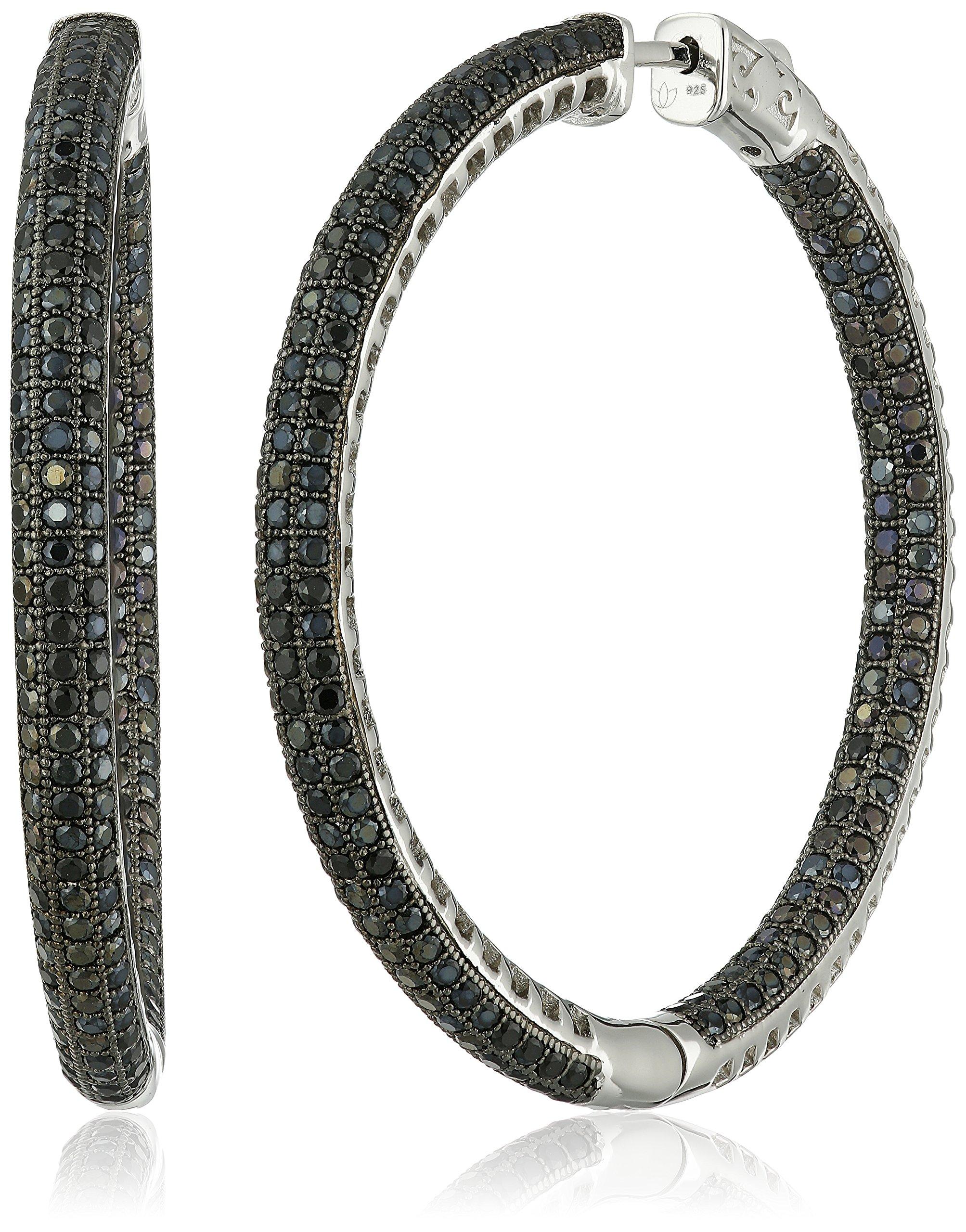 Sterling Silver Black Spinel Round Hoop Earrings, 2''