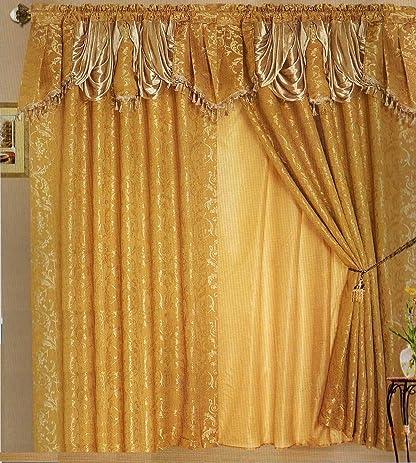 Amazon Com Gracelove Luxury Lined Curtain Drapes Set Valance Sheer