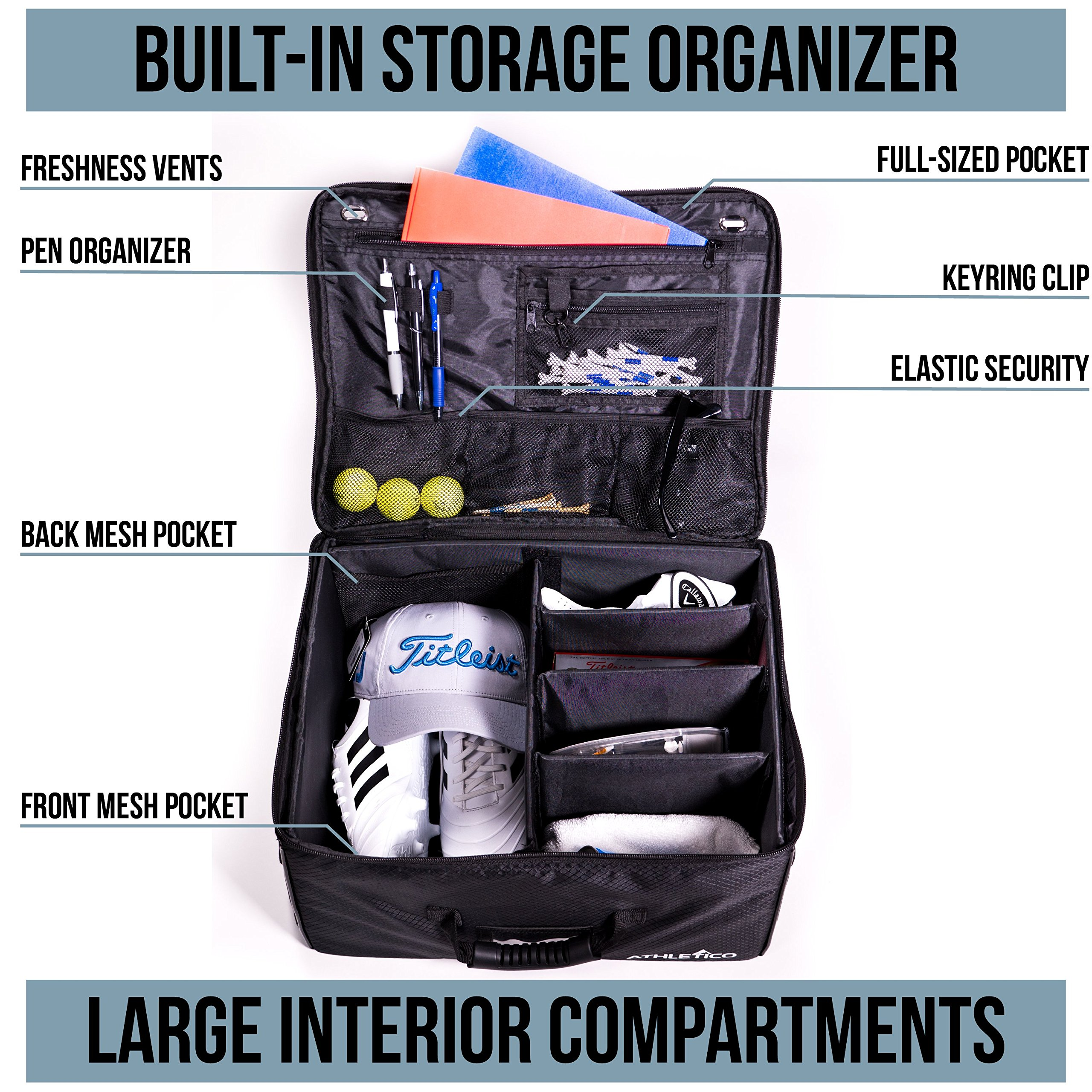 Athletico Golf Trunk Organizer Storage - Car Golf Locker To Store Golf Accessories | Collapsible When Not In Use by Athletico (Image #2)