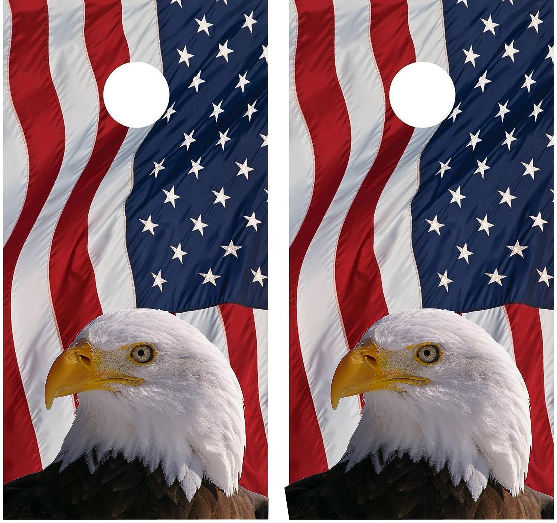 Uncategorized Bald Eagle American Flag amazon com american flag bald eagle laminated cornhole board decal wrap wraps sports outdoors