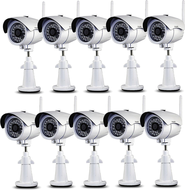 Sumpple 10X ワイヤレス無線WiFi/有線 HD 1280x720P 100万画素 屋外/屋内 耐候性 ネットワーク 監視 弾丸カメラ IP66防水 夜間暗視 モーション探知 ビデオレコード メールアラーム IOS,Android,PC 対応 ホワイト B07545XNZV 720P|10X ホワイト 10X ホワイト 720P