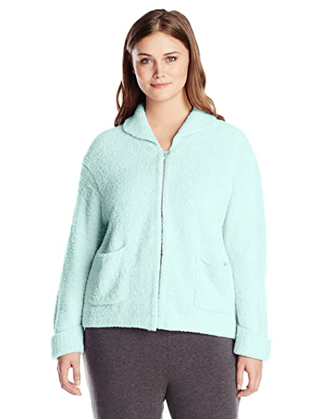 Casual Moments Womens Plus Size Shawl Collar Bed Jacket