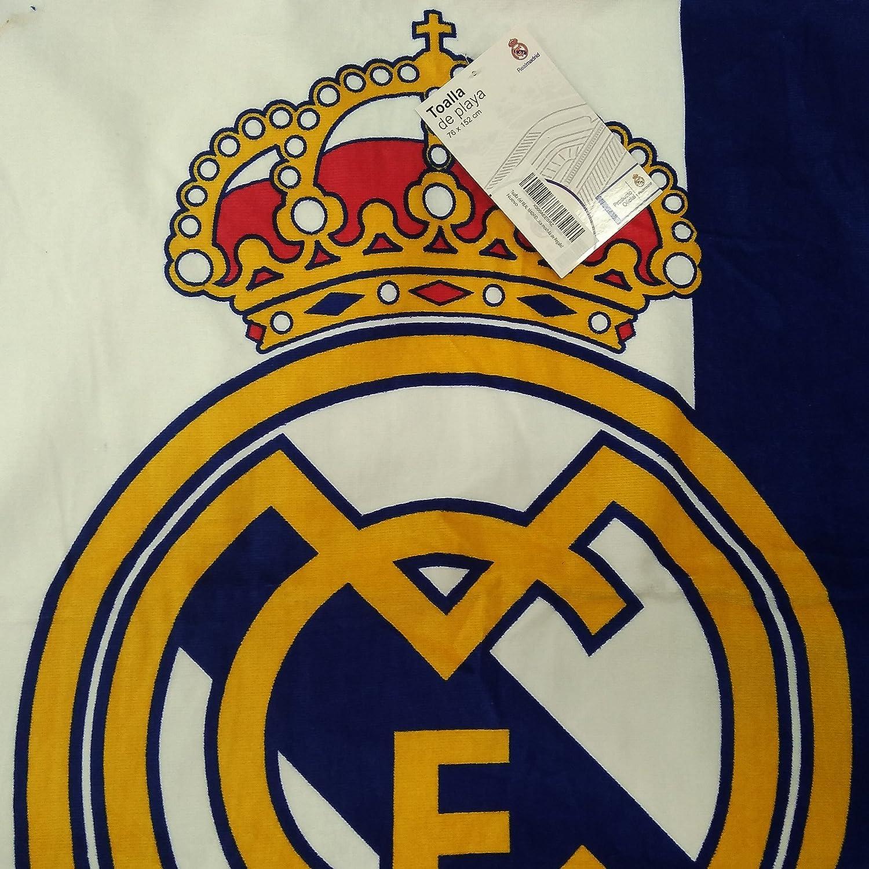Toalla del REAL MADRID de 76x152cm , 100% algodón. Producto Oficial del Real Madrid, con licencia. Con Practica mochila de Regalo!: Amazon.es: Hogar