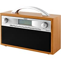 Xoro DAB 200 Tragbares DAB+/FM Radio im Holzdesign (10 Senderspeicher, Stereo, Weckfunktion, LCD Display, Metall-Teleskopantenne) braun