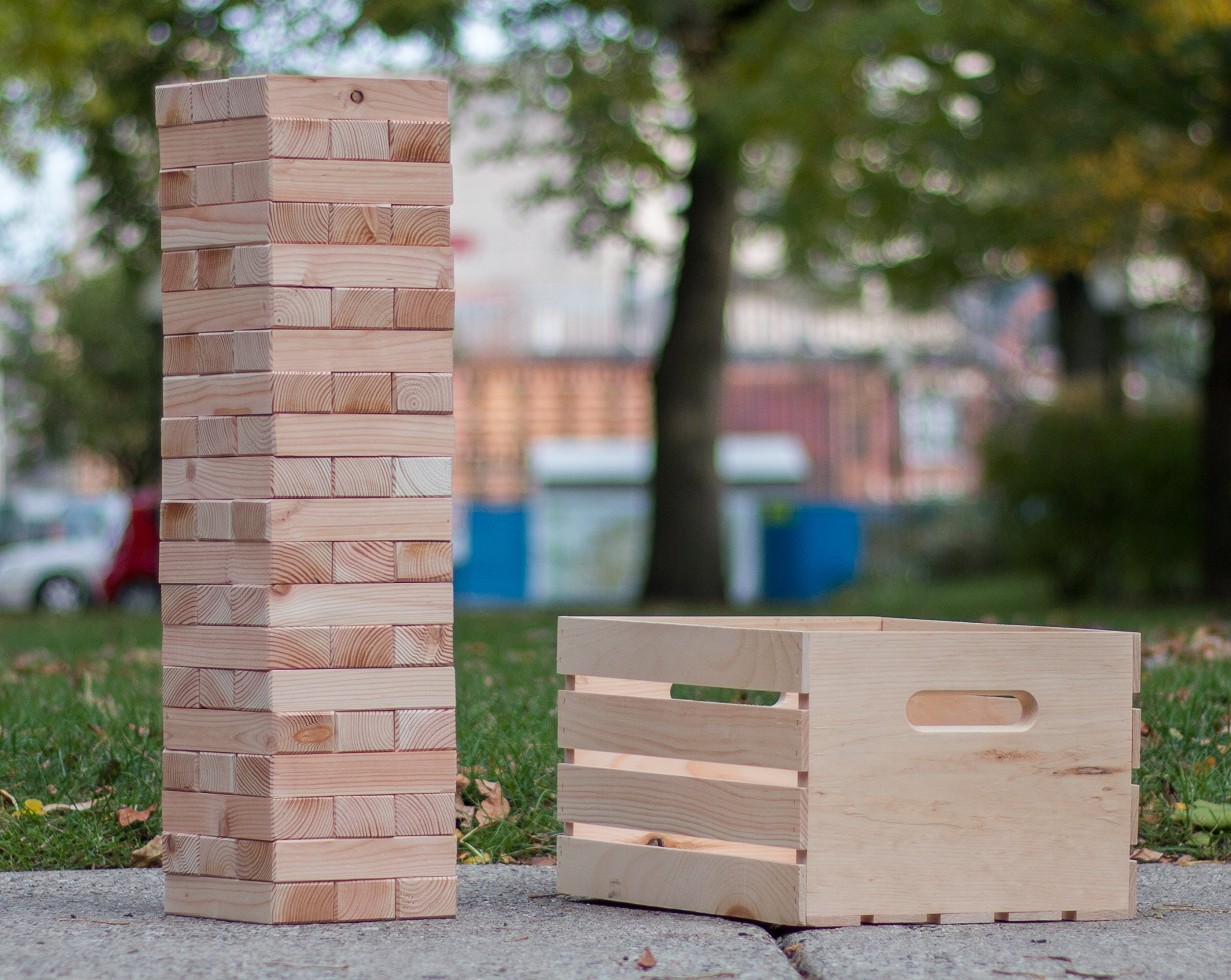 Finely Planed Giant 60-Block Stacking Tower & Wood Crate | Stacks to Over 6ft | Outdoor, Party and Wedding Game