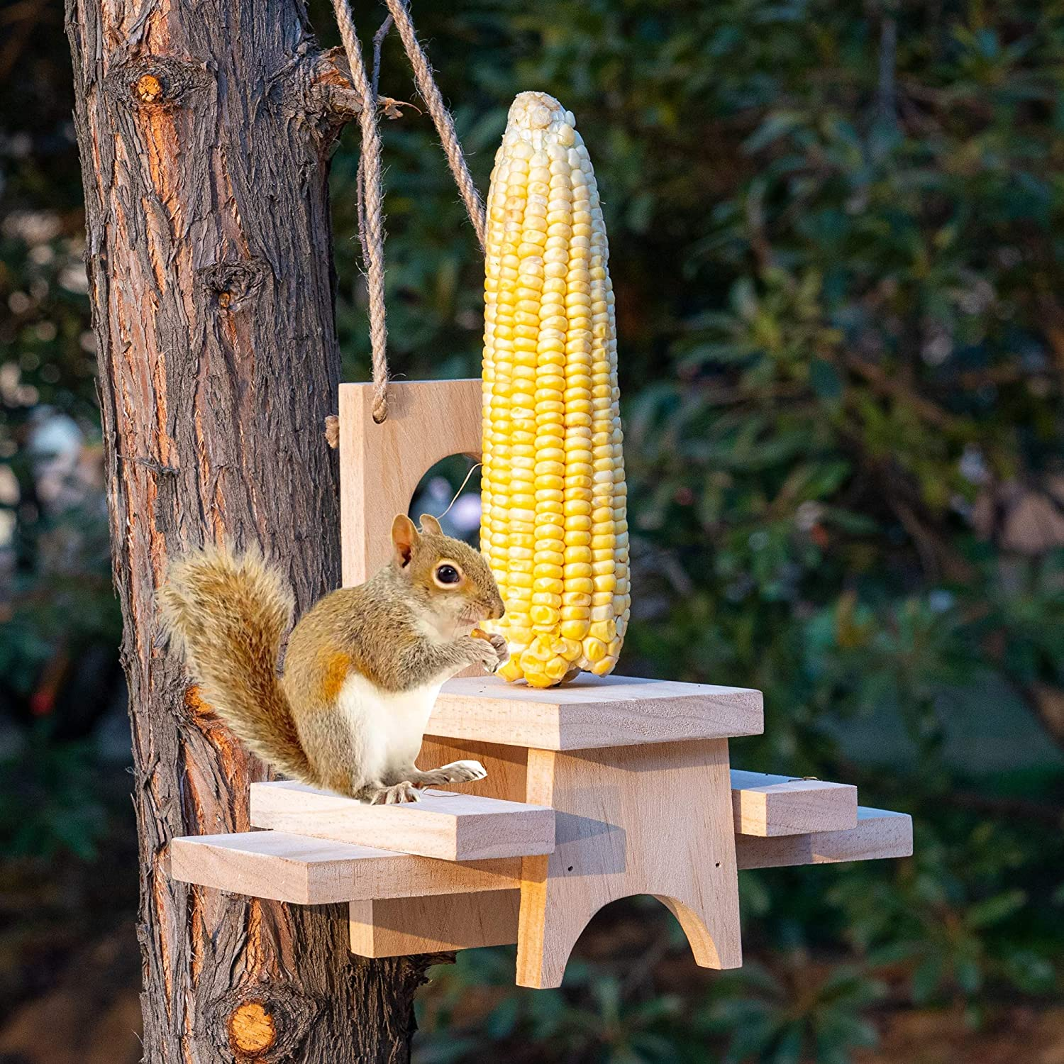 FUNPENY Wooden Squirrel Feeder for Outside, Outdoors,Hanging Squirrels Picnic Table Chipmunk Bench Feeders House with Corn Holder for Outdoor,Garden,Yard