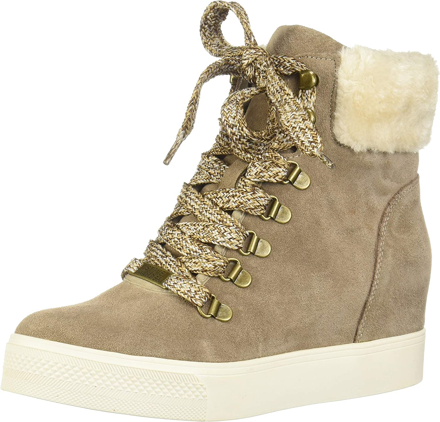 Size 6.0 Steve Madden Womens Windy Leather Closed Toe Ankle Taupe Suede