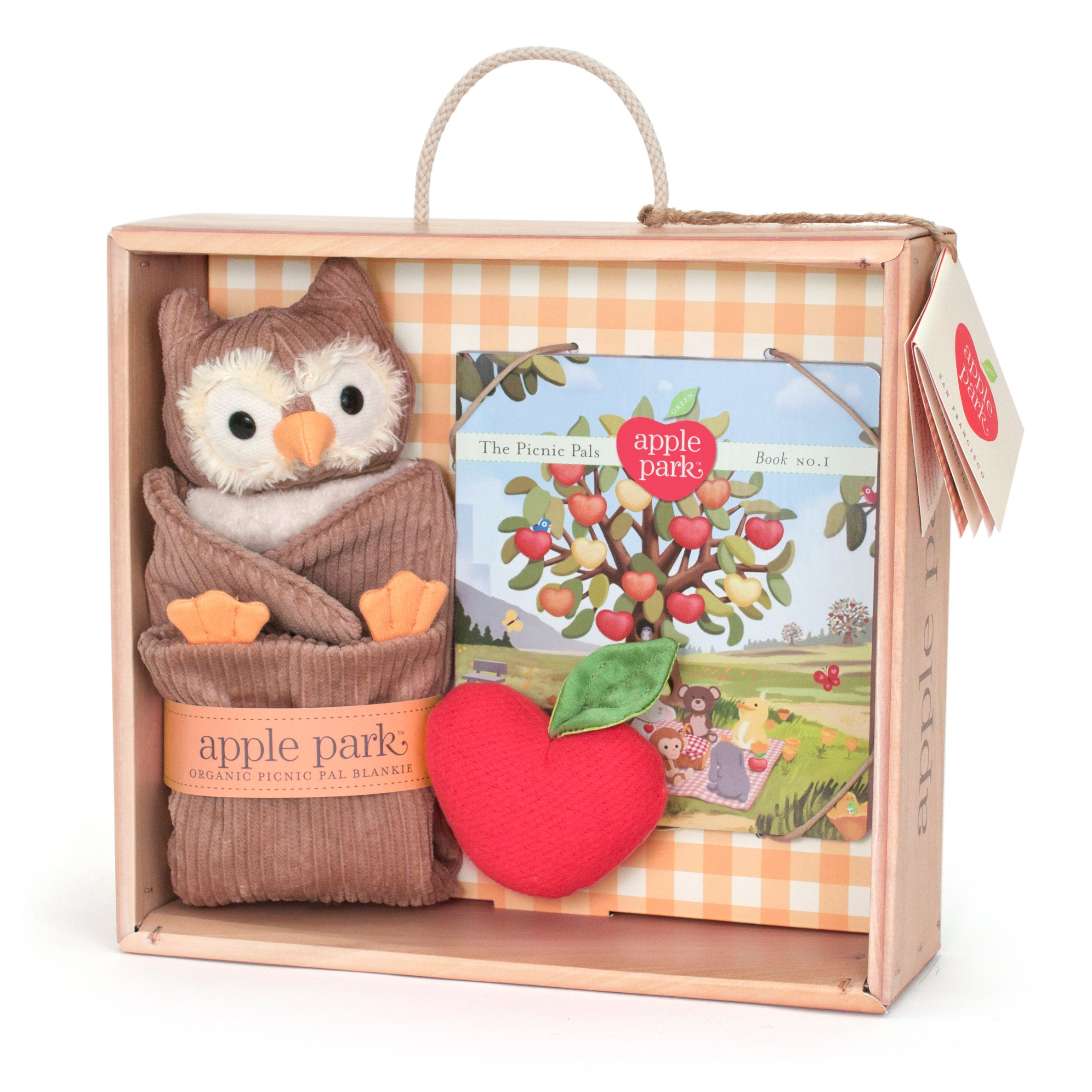 Apple Park Blankie Book and Rattle Gift Crate, Owl