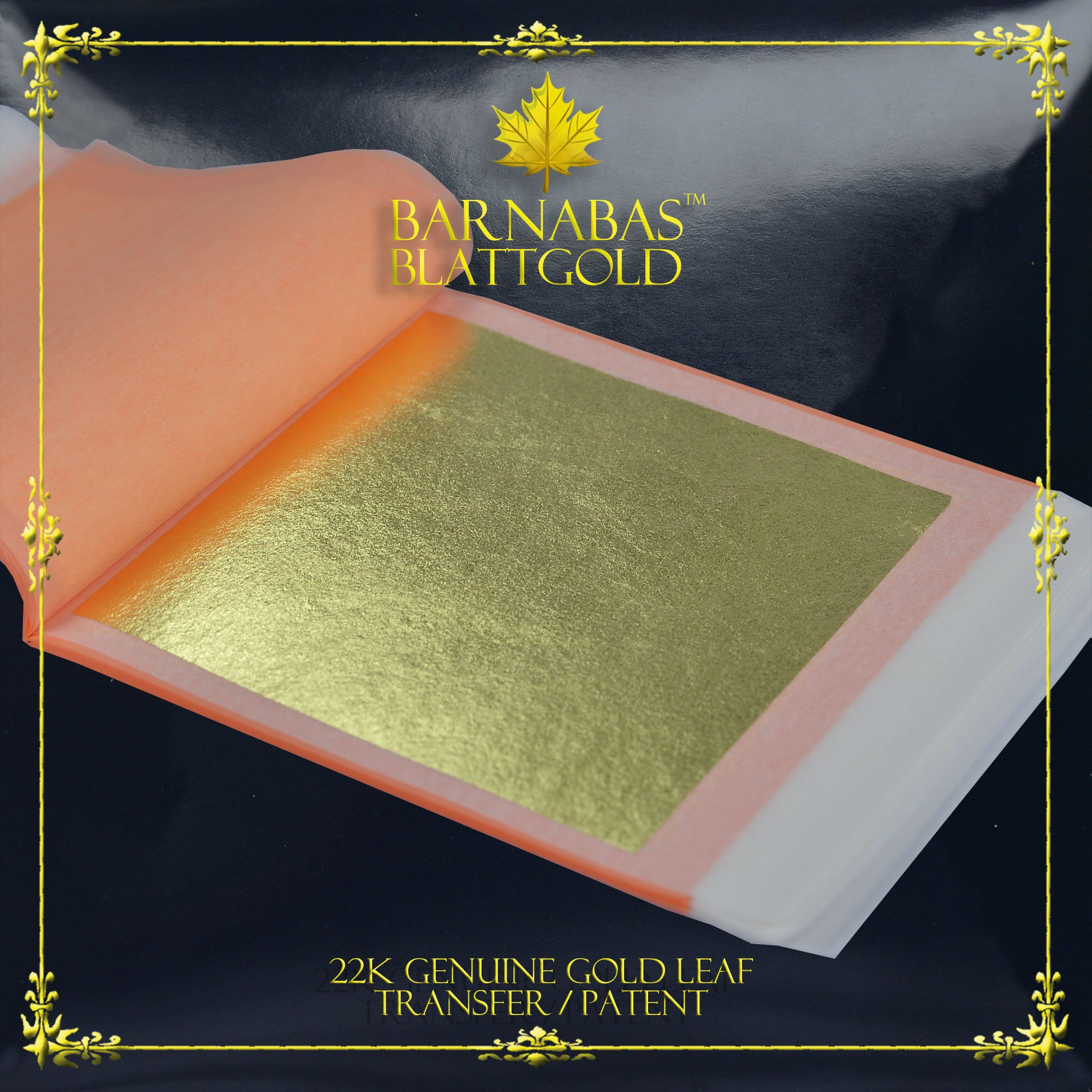 Genuine Gold Leaf Sheets 22k - by Barnabas Blattgold - 3.1 inches - 25 Sheets Booklet - Transfer Patent Leaf