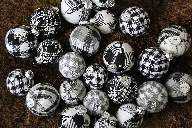 Black & White Plaid Christmas Ornaments Jumbo Set