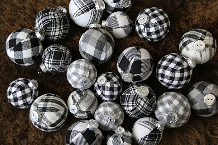 Black Christmas Ornaments.Black White Plaid Christmas Ornaments Jumbo Set