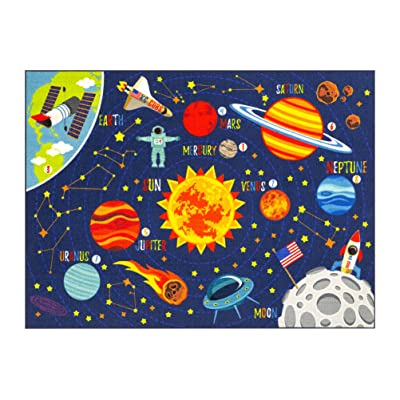"KC Cubs Playtime Collection Space Safari Road Map Educational Learning & Game Area Rug Carpet for Kids and Children Bedrooms and Playroom (3' 3"" x 4' 7""): Kitchen & Dining"