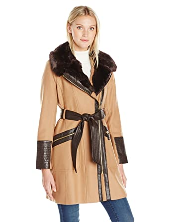 5d81aa803f7 Amazon.com  Via Spiga Women s Kate Mid-Length Belted Wool Assymetric Zip  Front Coat with Fur Collar  Clothing