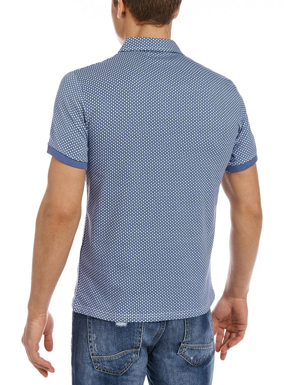 oodji Ultra Hombre Polo Estampado Gráfico, Azul, ES 44 / XS ...