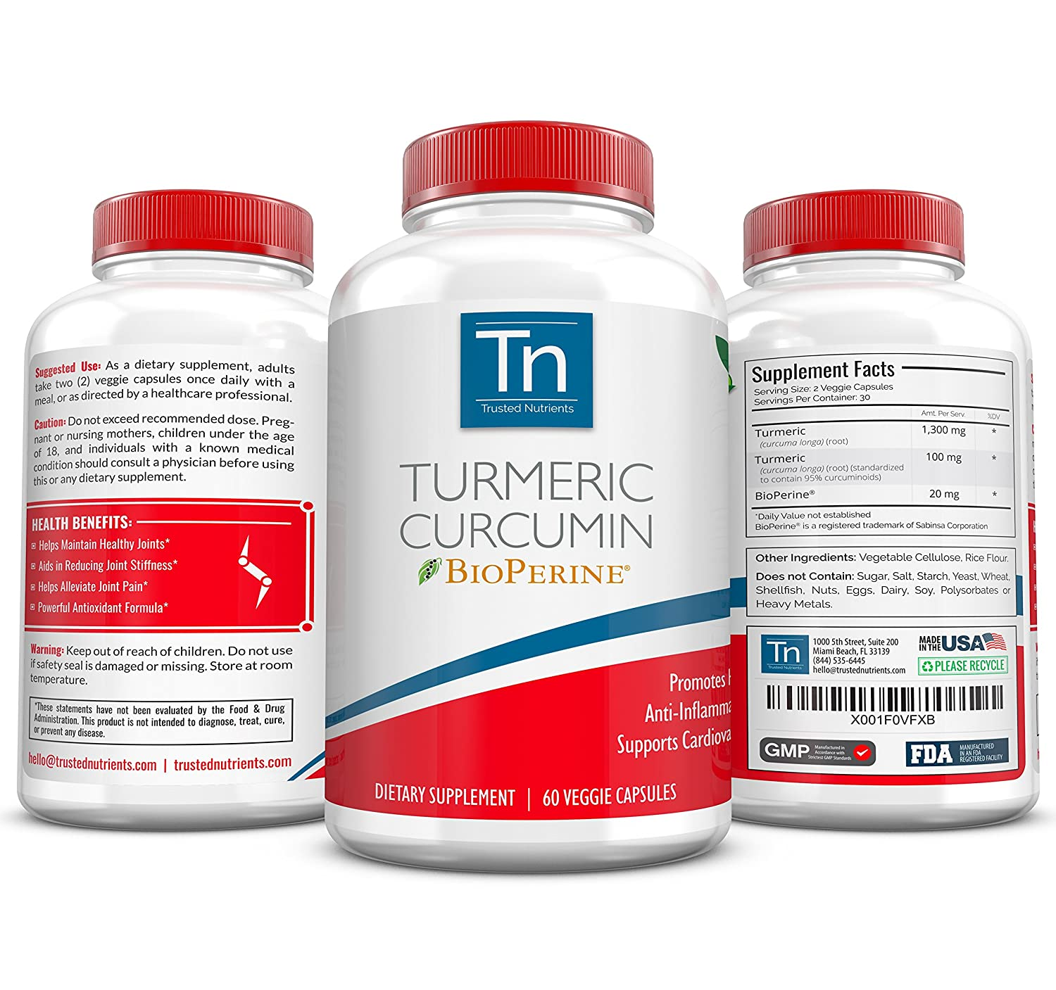 Trusted Nutrients Turmeric Curcumin Supplement with BioPerine High Absorption Curcumin Formula Concentrated 95 Curcuminoids Advanced Pain Relief and Joint Support 60 x 3 Vegetarian Capsules