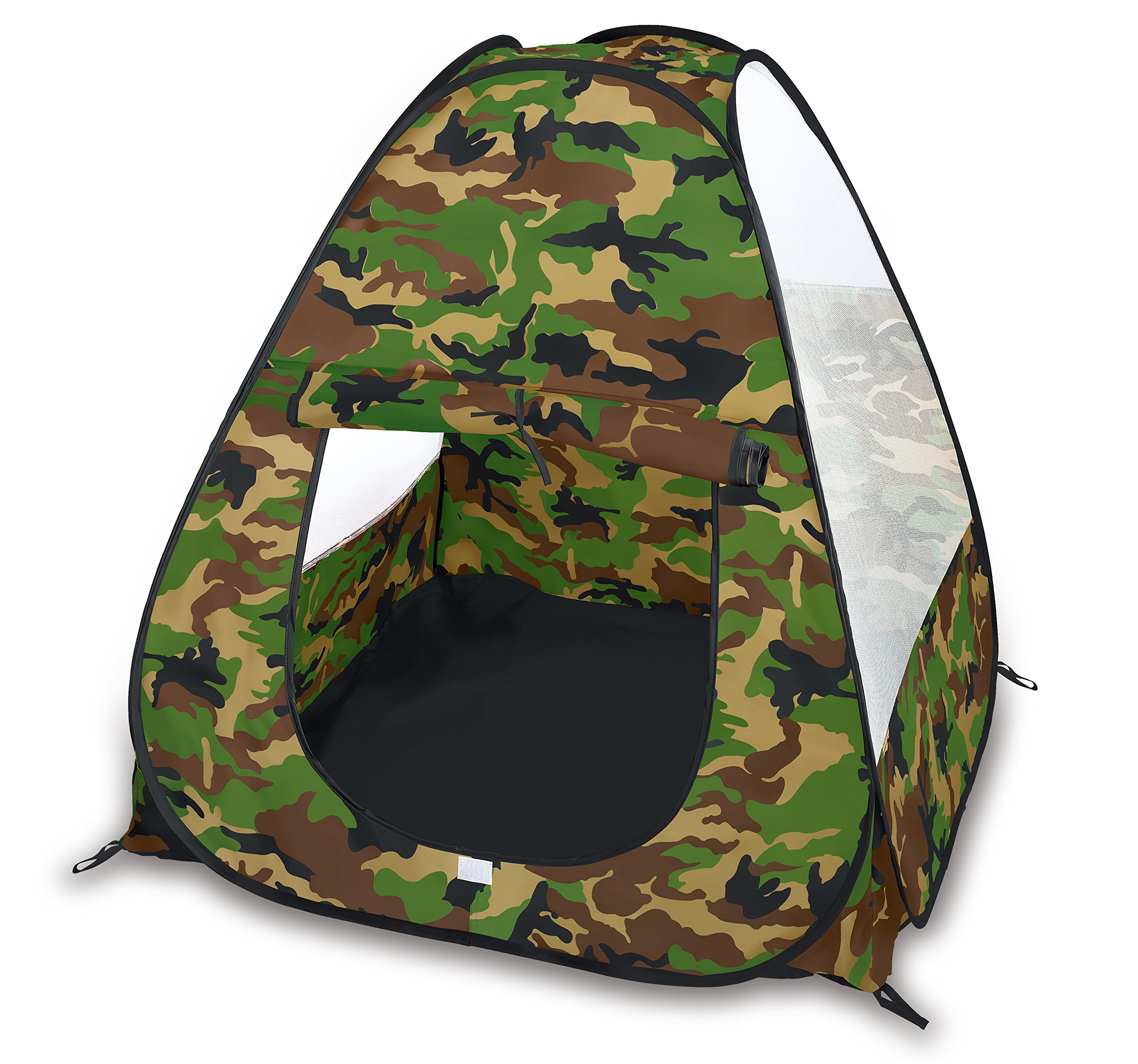 Camouflage Military Pop Up Play Tent - Collapsible Indoor/Outdoor Army Playhouse for Kids