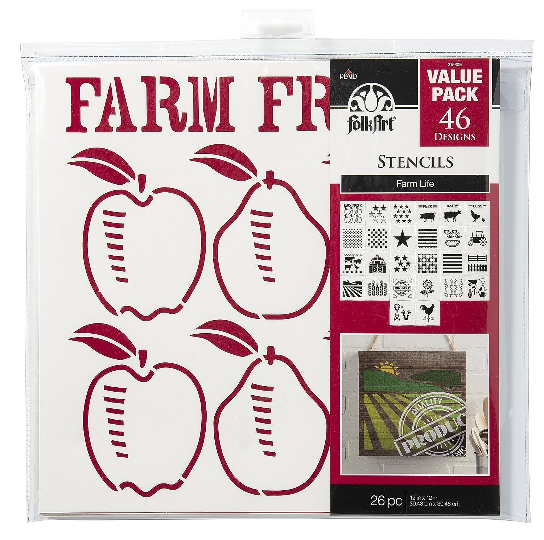 FolkArt Die Cut Paper Stencils, 31560E Farm Life (26-Pack) Plaid Inc