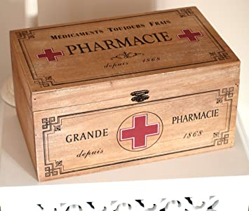 Rustic Vintage Shabby Chic Style Wooden First Aid Box