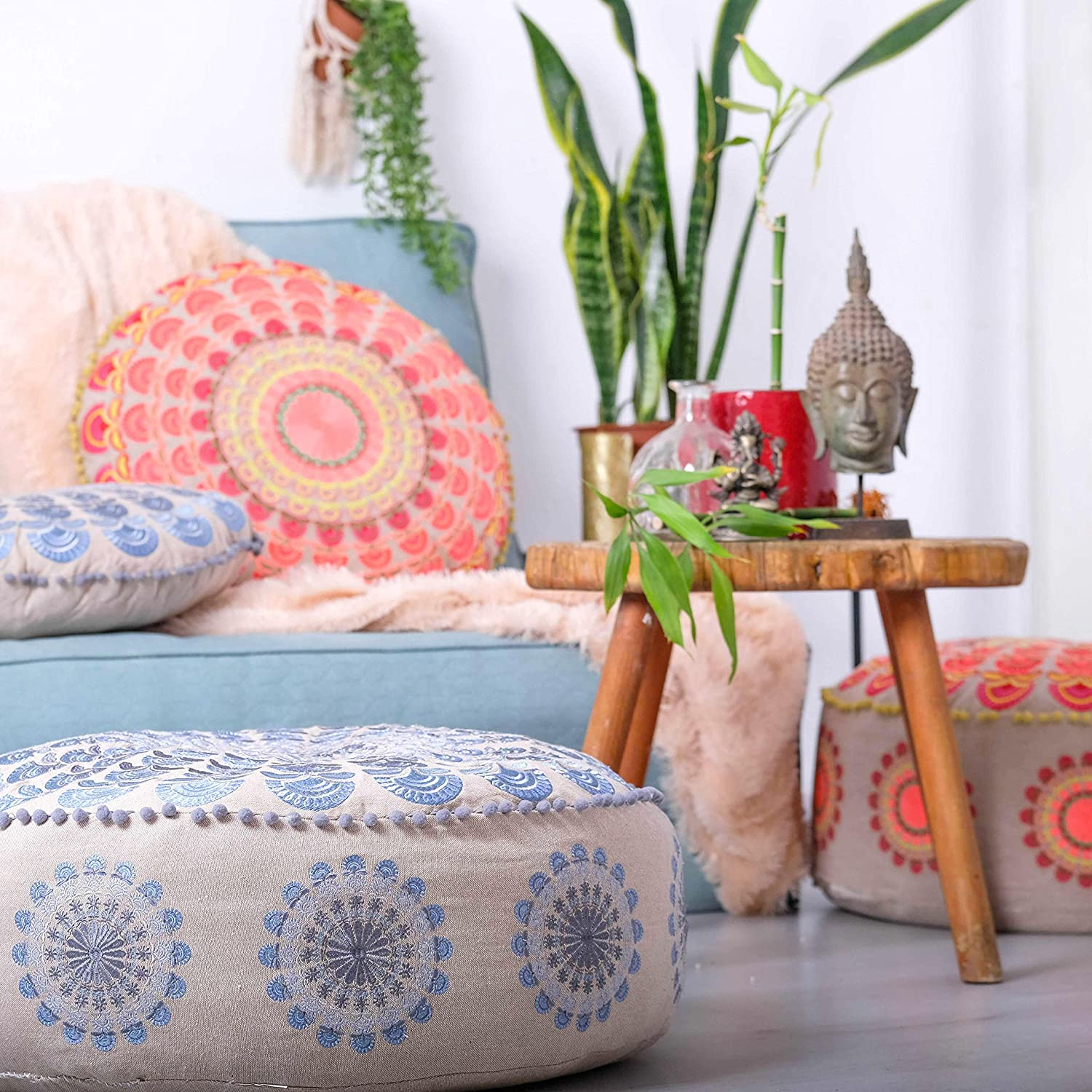 Mandala Life ART Peacock Pouf (Pouf Stuffed 24x8, Blue Embroidery