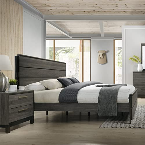 Roundhill Furniture Ioana 187 Antique Grey Finish Wood Queen Size Bed