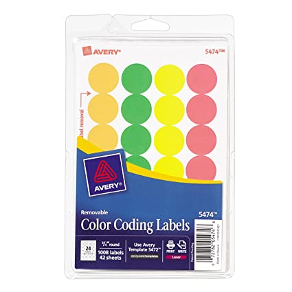 Avery Removable Print Or Write Color Coding Labels For Laser And Inkjet Printers 075 Inches