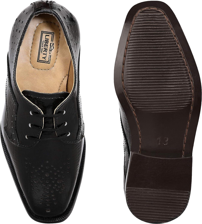 Toddler//Little Kid//Big Kid Liberty Boys Lace Up Walking Dress Shoes EEL Skin Print Kids Genuine Leather Gliders