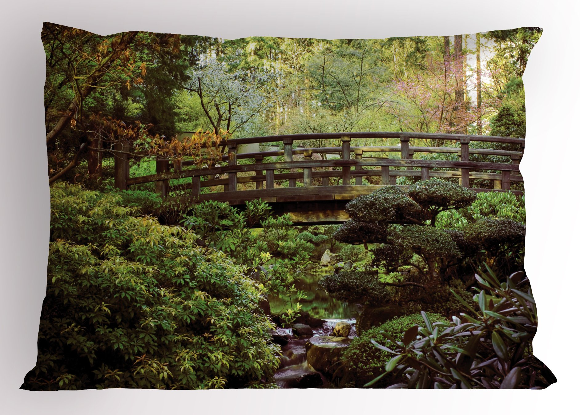 Lunarable Japanese Pillow Sham, Wood Bridge in Forest Serene Arboretum Relax Rest Spiritual Route Peace Landscape, Decorative Standard King Size Printed Pillowcase, 36 X 20 inches, Green Brown