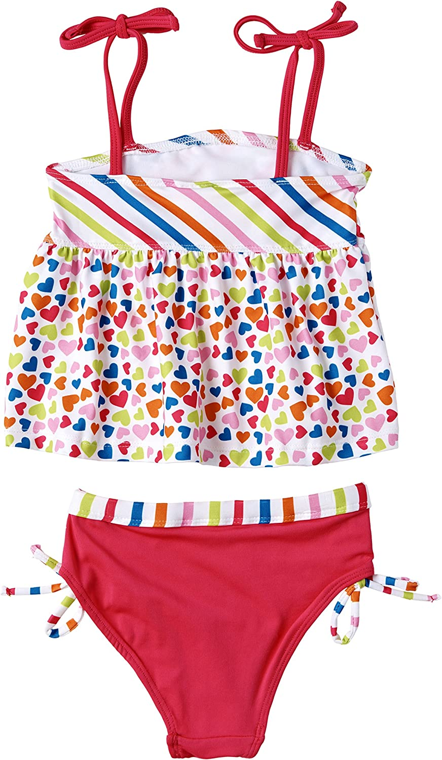 24 Months Pink Platinum Baby Girls UV Protection Sunblock Two Piece Tankini Swimsuit Set White